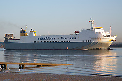 © Licensed to London News Pictures. 23/10/2019. Gravesend, UK. Stock photo (dated Apr 16, 2015) of the ro-ro cargo ship Clementine which docked at Purfleet about 00:30 on 23rd October 2019 after sailing from Zeebrugge. Photo credit : Rob Powell/LNP