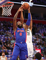 October 17, 2018 - Detroit, MI, USA - The Detroit Pistons' Andre Drummond rebounds ahead of the Brooklyn Nets' Jarrett Allen in the first period on Wednesday, Oct. 17, 2018, at Little Caesars Arena in Detroit. (Credit Image: © Kirthmon F. Dozier/Detroit Free Press/TNS via ZUMA Wire)