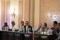 2020 Havana Jazz fest press conference. (Ctr) American musician Victor Goins, with American musician Stanley Jordan (2nd f/right) Cuba 2020 from Santiago to Havana, and in between.  Santiago, Baracoa, Guantanamo, Holguin, Las Tunas, Camaguey, Santi Spiritus, Trinidad, Santa Clara, Cienfuegos, Matanzas, Havana
