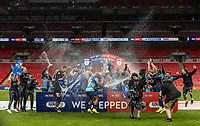 Wycombe Wanderers' players celebrate victory and promotion to the Sky Bet Championship <br /> <br /> Photographer Andrew Kearns/CameraSport<br /> <br /> Sky Bet League One Play Off Final - Oxford United v Wycombe Wanderers - Monday July 13th 2020 - Wembley Stadium - London<br /> <br /> World Copyright © 2020 CameraSport. All rights reserved. 43 Linden Ave. Countesthorpe. Leicester. England. LE8 5PG - Tel: +44 (0) 116 277 4147 - admin@camerasport.com - www.camerasport.com