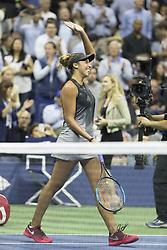 September 6, 2017 - New York, New York, United States - Madison Keys of USA celebrates victory against Kaia Kanepi of Estonia at US Open Championships at Billie Jean King National Tennis Center  (Credit Image: © Lev Radin/Pacific Press via ZUMA Wire)