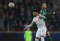 MOSCOW, RUSSIA - OCTOBER 27: Serge Gnabry of FC Bayern Muenchen and Grzegorz Krychowiak of Lokomotiv Moskva during the UEFA Champions League Group A stage match between Lokomotiv Moskva and FC Bayern Muenchen at RZD Arena on October 27, 2020 in Moscow, Russia. (Photo by MB Media)
