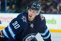PENTICTON, CANADA - SEPTEMBER 9: Kristian Reichel #90 of Winnipeg Jets faces off against the Edmonton Oilers on September 9, 2017 at the South Okanagan Event Centre in Penticton, British Columbia, Canada.  (Photo by Marissa Baecker/Shoot the Breeze)  *** Local Caption ***