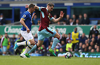 Burnley's Sam Vokes chased by Everton's Phil Jagielka<br /> <br /> Photographer Stephen White/CameraSport<br /> <br /> The Premier League - Everton v Burnley  - Saturday 15th April 2017 - Goodison Park - Liverpool<br /> <br /> World Copyright © 2017 CameraSport. All rights reserved. 43 Linden Ave. Countesthorpe. Leicester. England. LE8 5PG - Tel: +44 (0) 116 277 4147 - admin@camerasport.com - www.camerasport.com