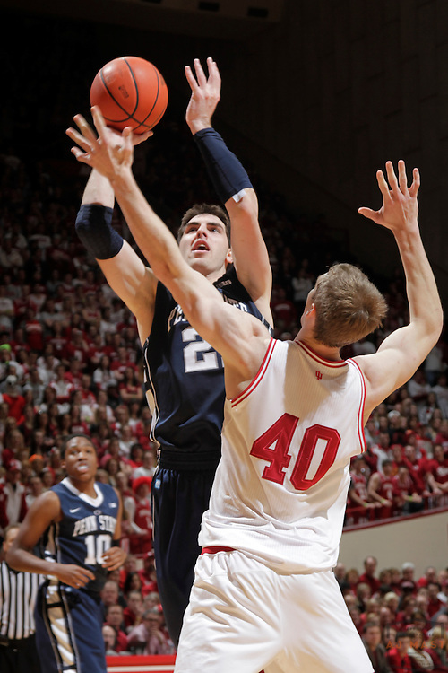23 January 2013: Penn State Nittany Lions forward Sasa Borovnjak (21) as the Indiana Hoosiers played the Penn State Nittnay Lions in a college basketball game in Bloomington, Ind.