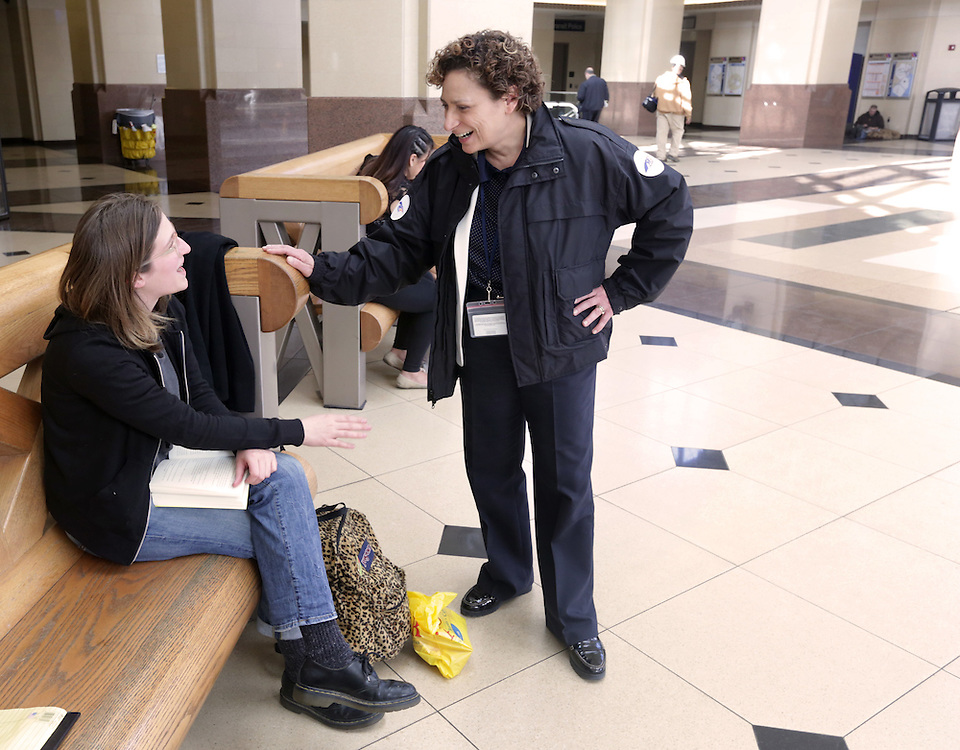 Ronnie Hakim (right), the new executive director of  NJ Transit, talks with Caroline Hesse of Long Island as she waits for a train at Secaucus Junction.  3/11/14 (John O'Boyle/The Star-Ledger)