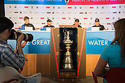 The America's Cup Village, Bermuda, 26th June 2017. Emirates Team New Zealand Helmsman Peter Burling, Skipper and wing trimmer Glen Ashby, CEO Grant Dalton and Team Principal Matteo de Nora at the final press conference as winners of the America's Cup.