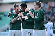 JP License <br /> Hibernian v Dumbarton, Scottish Championship, Easter Road, Edinburgh.<br /> <br /> Dominique  Malonga celebrates  with Danny Handling and Scott Robertson scoring his 2nd and  Hibs 3rd<br /> <br /> <br />  Neil Hanna Photography<br /> www.neilhannaphotography.co.uk<br /> 07702 246823