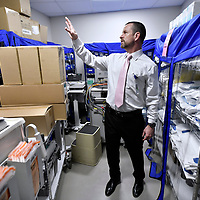 BOSTON, 3/5/2020 -  Ed Raeke Director of Materials Management at Massachusetts General Hospital shows the separate supply closet where N95 medical face masks have been moved to help conserve supply  The hospital was down to a three-and-one half day supply and deliveries in recent weeks have been unreliable. Josh Reynolds for for The Washington Post  (Bronwen Latimer, Emma Brown)