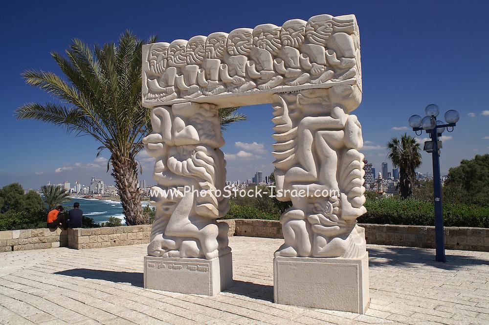 Carved stone doorway, Hapisga Park, Jaffa, Israel