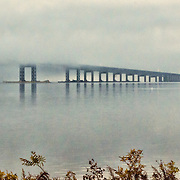 Looking south west from Tarrytown, NY at the Tappan Zee bridge.  the fog is just starting to lift