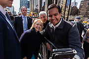 New York, NY - 24 March 2019. Senator Kirsten Gillibrand (D-NY) held a presidential campaign rally on New York's Central Park West in Front of the Trump Hotel  and Tower. Gillibrand poses with a supporter for a selfie.