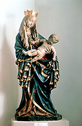 Schone Madonna' Virgin Mary holding the baby Jesus. Painted statue, Pfarrkirche, Bad Aussee, Austria.