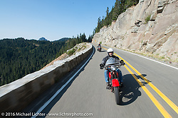 Vinnie Grasser riding his 1930 Harley Davidson VL over the Olympic Range during Stage 16 (142 miles) of the Motorcycle Cannonball Cross-Country Endurance Run, which on this day ran from Yakima to Tacoma, WA, USA. Sunday, September 21, 2014.  Photography ©2014 Michael Lichter.