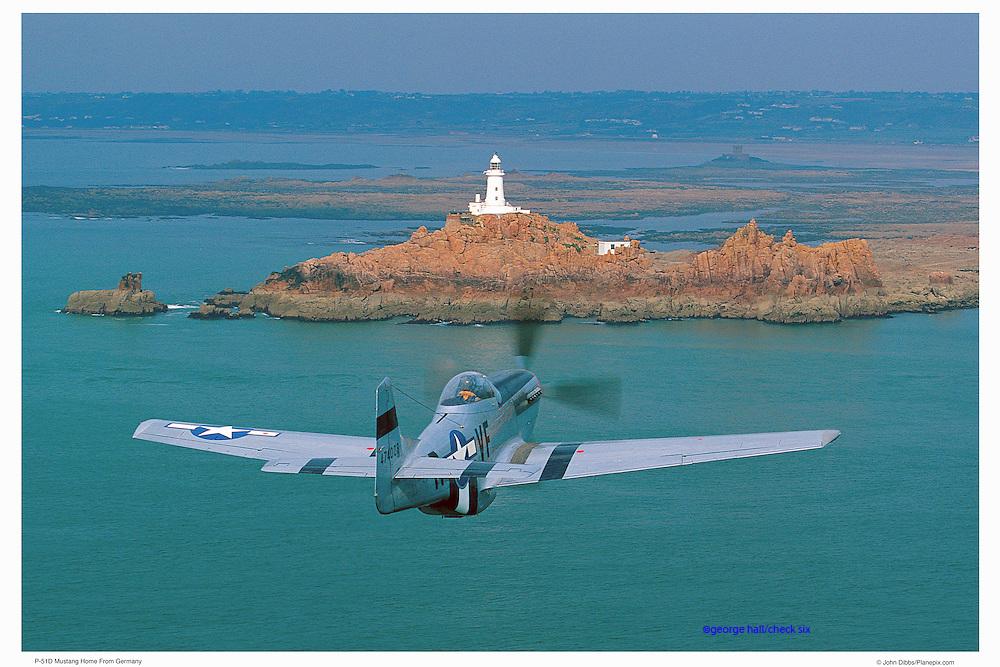 P-51D approaching lighthouse