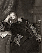 Henry Percy, 9th Earl of Northumberland (1564-1632) English nobleman, called the Wizard Earl because of his interest in scientific experiment. Engraving  after portrait by Vandyke.