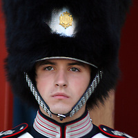 Europe, Denmark, Copenhagen. Royal Life Guard of Amalienborg.