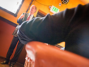 28 OCTOBER 2010 - TOLLESON, AZ: Terry Goddard speaks to a crowd in Tolleson. He brought his gubernatorial campaign to Fuego's in Tolleson for a lunch time meeting with local voters. Goddard lost the election to sitting Governor Jan Brewer, a conservative Republican.     PHOTO BY JACK KURTZ