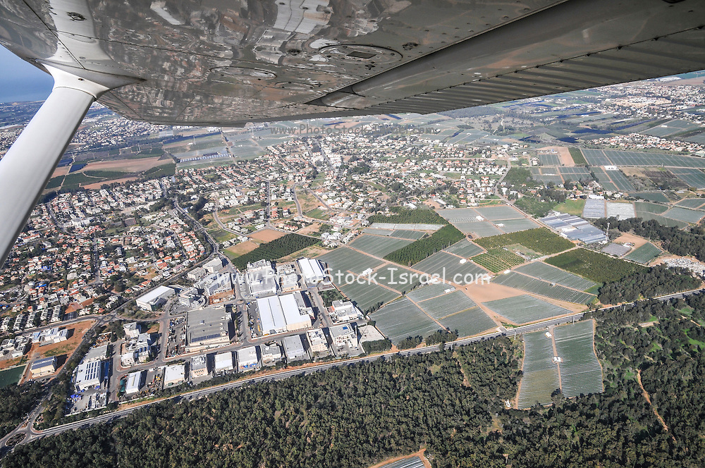 Aerial view of Sharon District, Israel from within a Cessna airplane