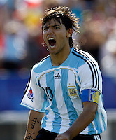 WORLD CUP U20 CHAMPION CELEBRATION <br /> ARGENTINA (ARG) its the new u20 Soccer football FIFA Champion, after beat 2-1 in the final match the  CZECH Republic (CZE) team in Toronto, Canada 22/07/07<br /> Here Argentine player  SERGIO AGUERO<br /> celebrating his goal <br /> © Gabriel Piko / PikoPress