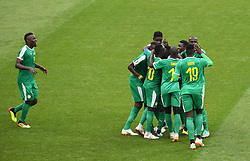 MOSCOW, June 19, 2018  Players of Senegal celebrate scoring during a Group H match between Poland and Senegal at the 2018 FIFA World Cup in Moscow, Russia, June 19, 2018. (Credit Image: © Wang Yuguo/Xinhua via ZUMA Wire)