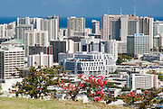 I view of the congested buildings on Oahu from Punchbowl.