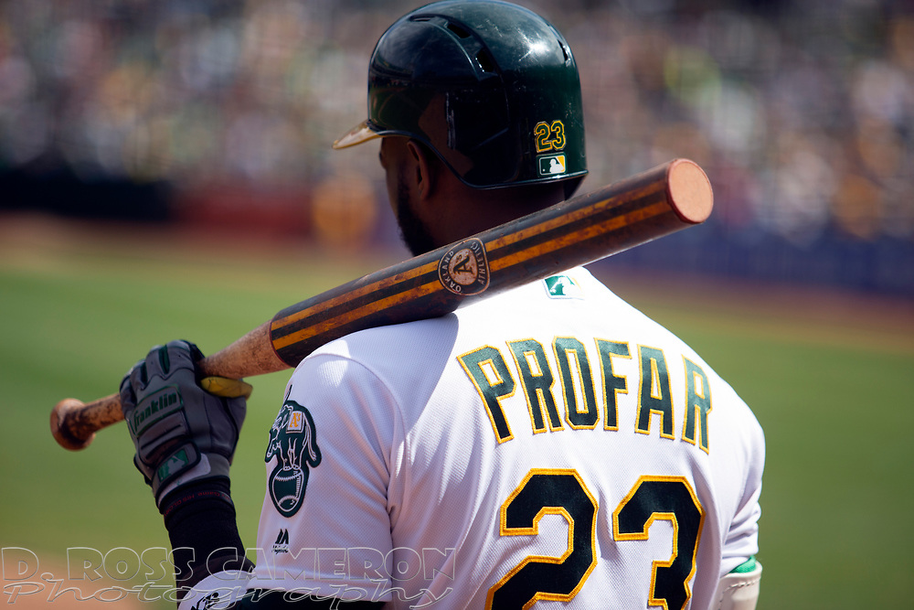 Oakland Athletics' Jurickson Profar (23) stands in the on deck circle during the second inning of a baseball game against the Texas Rangers, Sunday, Sept. 22, 2019, in Oakland, Calif. (AP Photo/D. Ross Cameron)