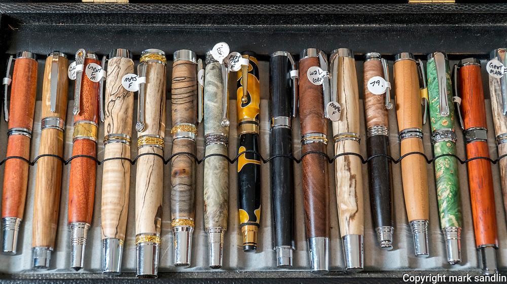 Joel Lockridge, Bourbon Barrel Pens, Joel makes pens from all sorts of woods. From former bourbon barrels to bog wood from England.