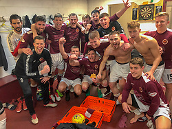 Stenhousemuir players in the dressing after they beat Falkirk. Stenhousemuir 4 v 2 Falkirk, 3rd Round of the William Hill Scottish Cup played 24/11/2018 at Ochilview Park, Larbert.