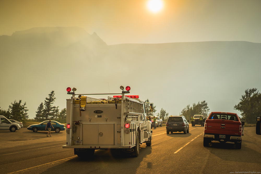 A wild lands fire truck approaches the road block in Saint Mary, Montana, just outside of Glacier National Park. July 21st 2015 Reynolds Creek fire