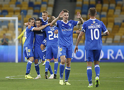 August 24, 2017 - Dynamo players celebrate after  Denys Garmash (2L) scores goal during the Europa League second play-off soccer match between FC Dynamo Kyiv and FC Maritimo, at the Olimpiyskyi stadium in Kyiv, Ukraine, August 24, 2017. (Credit Image: © Anatolii Stepanov via ZUMA Wire)