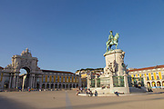 Terreiro do Paço, also know as Praça do Comércio (Commerce Square). This square is the largest in Lisbon and is located just by the river Tagus. From left to right can be seen Augusta Street Arch, the equestrian statue of King Joseph I and, on the top of the hill, Saint George Castle.