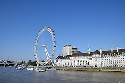 River Thames and Coca Cola London Eye, London August 2019 UK