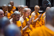 19 JULY 2014 - KHLONG LUANG, PATHUM THANI, THAILAND: Newly ordained monks and novices pray for the first time as members of the clergy during their ordination at Wat Phra Dhammakaya. Seventy-seven men from 18 countries were ordained as Buddhist monks and novices at Wat Phra Dhammakaya, a Buddhist temple  north of Bangkok, Saturday. It is the center of the Dhammakaya Movement, a Buddhist sect founded in the 1970s and led by Phra Dhammachayo (Phrathepyanmahamuni). It is the largest temple in Thailand. The Dhammakaya sect has an active outreach program that attracts visitors from around the world.    PHOTO BY JACK KURTZ