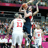 31 July 2012: USA Kevin Love goes to the basket during 110-63 Team USA victory over Team Tunisia, during the men's basketball preliminary, at the Basketball Arena, in London, Great Britain.