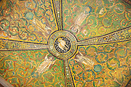 Byzantine Roman mosaics of the ceiling of the Apse of the Basilica of San Vitale in Ravenna, Italy. Mosaic decoration paid for by Emperor Justinian I in 547. A UNESCO World Heritage Site .<br /> <br /> Visit our BYZANTINE MOSAIC PHOTO COLLECTION for more   photos  to download or buy as prints https://funkystock.photoshelter.com/gallery/Byzantine-Eastern-Roman-Style-Mosaics-Pictures-Images/G0000NvKCna.AoH4/3/C0000YpKXiAHnG2k<br /> If you prefer to buy from our ALAMY PHOTO LIBRARY  Collection visit : https://www.alamy.com/portfolio/paul-williams-funkystock/basilica-san-vitale-ravenna.html