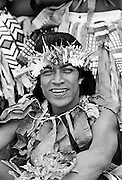 Local man in warriors costumes at cultural event in Tuvalu, South Pacific