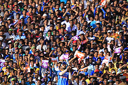 August 20, 2017 - Dambulla, Sri Lanka - Indian cricketer Shikhar Dhawan takes a catch as spectators look on during the 1st One Day International cricket match bewtween Sri Lanka and India at Dambulla International cricket stadium situated in the Central Province and the first and only International cricket ground in the dry zone of Sri Lanka on Sunday 20 August 2017. (Credit Image: © Tharaka Basnayaka/NurPhoto via ZUMA Press)