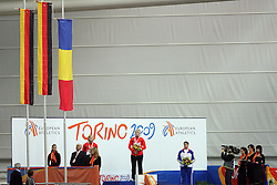 Second placed Denise Hinrichs of Germany, European Championships winner Petra Lammert of Germany and Anca Heltne of Romania at the medal ceremony at the 1st day of  European Athletics Indoor Championships Torino 2009 (6th - 8th March), at Oval Lingotto Stadium,  Torino, Italy, on March 6, 2009. (Photo by Vid Ponikvar / Sportida)