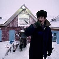 RUSSIA, Arctic. Meteorologist at Golomianiyy Weather Station, Severnaya Zemlya, an archipeligo north of Siberia.