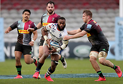 Semi Radradra of Bristol Bears is tackled by Alex Dombrandt of Harlequins - Mandatory by-line: Matt Impey/JMP - 26/12/2020 - RUGBY - Twickenham Stoop - London, England - Harlequins v Bristol Bears - Gallagher Premiership Rugby