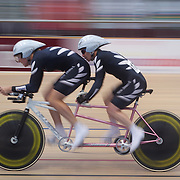 Sonia Waddell, (left) and Jayne Parsons, New Zealand, in action during the Para-Cycling Women 1000m Time Trial at the 2012 Oceania WHK Track Cycling Championships, Invercargill, New Zealand. 21st November  2011. Photo Tim Clayton...