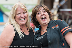 Melissa Penland and Manon Durand at the Iron Horse Saloon during the annual Sturgis Black Hills Motorcycle Rally.  SD, USA.  August 8, 2016.  Photography ©2016 Michael Lichter.