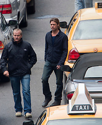 """Day two of filming. Brad Pitt on the set of the movie """"World War Z"""" being shot in the city centre of Glasgow. The film, which is set in Philadelphia, is being shot in various parts of Glasgow, transforming it to shoot the post apocalyptic zombie film.."""