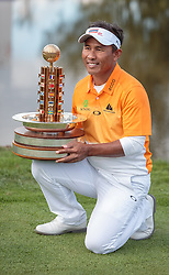 27.09.2015, Beckenbauer Golf Course, Bad Griesbach, GER, PGA European Tour, Porsche European Open, im Bild Sieger Thongchai Jaidee (THA) jubelt mit dem Gewinner Pokal // Winner Thongchai Jaidee (THA) celebrate with the Trophy during the European Tour, Porsche European Open Golf Tournament at the Beckenbauer Golf Course in Bad Griesbach, Germany on 2015/09/27. EXPA Pictures © 2015, PhotoCredit: EXPA/ JFK