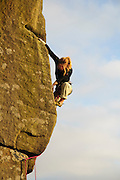Hazel Findlay climbing Usurper, E4, Curbar, Peak District