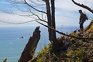 Hiking the Tillamook Head trail from Seaside to Cannon Beach,  Oregon.  The view of Tillamook Head lighthouse from the trail.