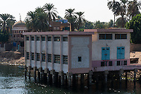 Egypt. Cruising the Nile from Kom Ombo to Luxor, passing Edfu and Esna. Pumping Station.