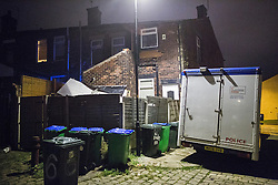 © Licensed to London News Pictures . 08/09/2016 . Rochdale , UK . Police outside a house at the junction of Rooley Moor Road and Preston Street in Spotland as a 25 year old man has been arrested for murder following the death of an 8 month old baby boy on Tuesday 6th September 2016 . A 24 year old woman is also in custody . Photo credit: Joel Goodman/LNP