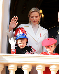 Princess Charlene, Princess Gabriella, Prince Jacques The royal family of Monaco posing at the balcony of the Grimaldi castle for the National Day festivities on November 19th 2019.